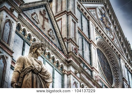 Dante Alighieri Statue With Santa Croce Cathedral