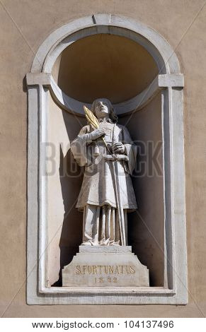 LJUBLJANA, SLOVENIA - JUNE 30: Saint Fortunatus on the facade of St Nicholas Cathedral in the capital city of Ljubljana, Slovenia on June 30, 2015