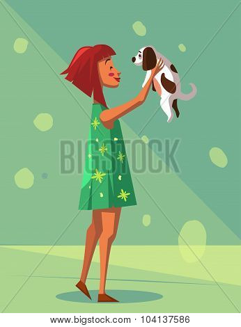 ?artoon Girl With Puppy