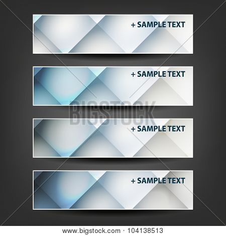 Set of Horizontal Banner or Header Designs for Christmas, New Year or Other Holidays with Colorful Checked Pattern Background