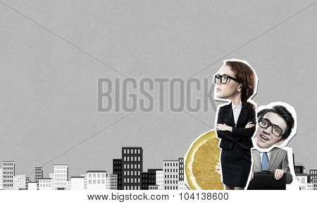 Young confident businesswoman and businessman at composite business background