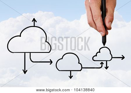 Human hand drawing cloud symbol on sky background