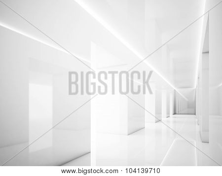 White interior in modern office. Lights and space. 3d render