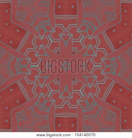 Seamless hexagon pattern brown turquoise