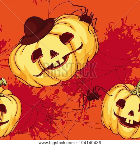Seamless Pattern, Halloween Pumpkin