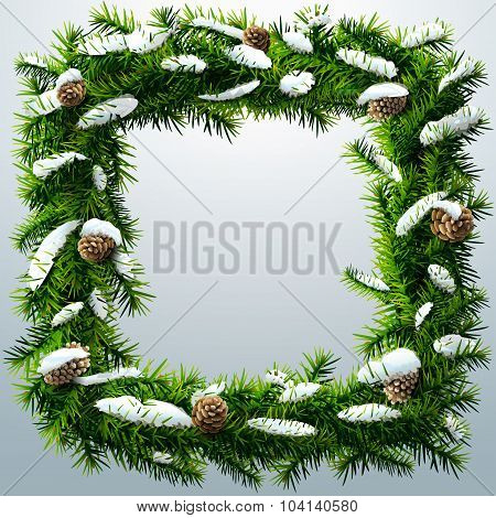 Christmas Square Wreath With Snow And Pinecones