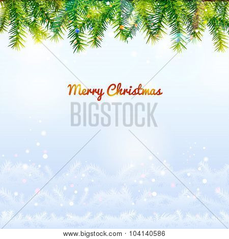 Holiday Background With Top Pine Branches And Bottom Twigs Silhouette
