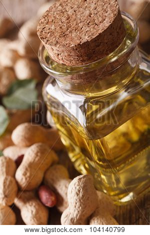 Fresh Peanut Oil In A Bottle Macro. Vertical