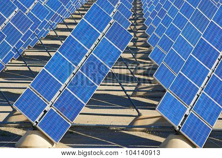 Photovoltaic panels for renewable electric production, Zaragoza province, Aragon, Spain.