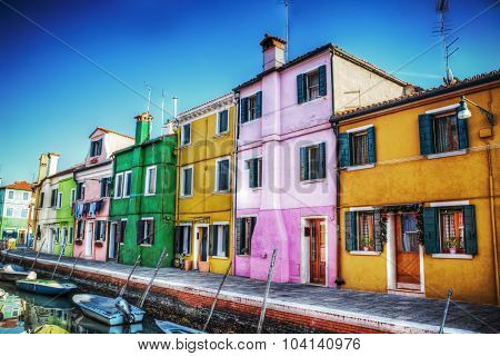 Houses By A Canal In Burano