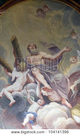 LJUBLJANA, SLOVENIA - JUNE 30: Saint Andrew the Apostle, fresco on the ceiling  of the Cathedral of St Nicholas in the capital city of Ljubljana, Slovenia on June 30, 2015