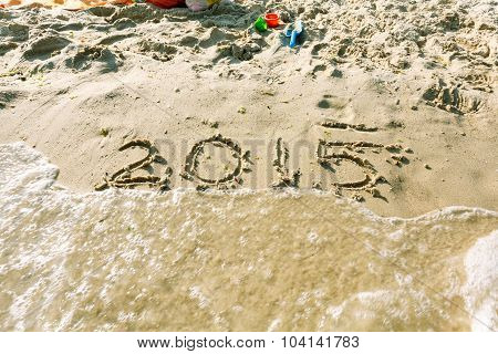 Year 2015 On The Beach For Background