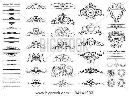 Vintage Set Decor Elements. Elegance Old Hand Drawing Set. Ornat