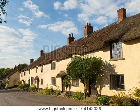 Thatched cottages in Broadhembury village East Devon England uk in the Blackdown Hills