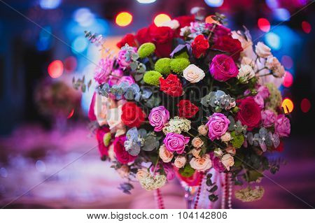 Beautiful Mixed Flowers Bouquete  On Table