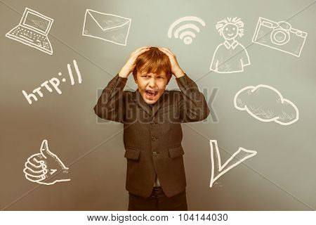 Teenage boy failure businessman irritation rage holding his head