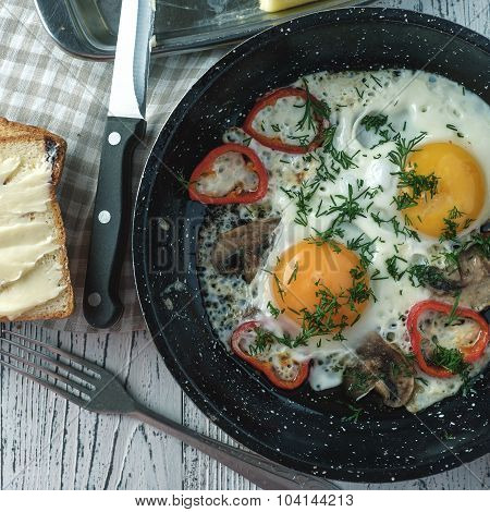 Fried Egg For Breakfast In The Countryside.