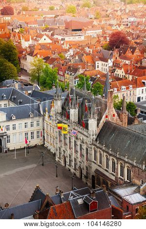 Top view of fortified citadel Stadhuis, Bruges