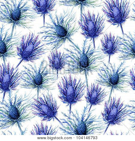 Seamless Pattern With Watercolor Blue And Violet Burs.