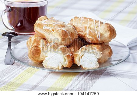 Tea With Eclairs, Plates, Cups