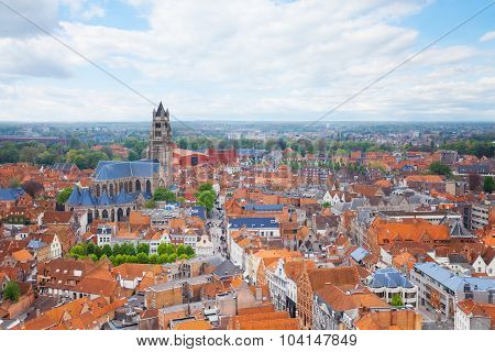 Cityscape with Cathedrale saint Sauveur in Bruges