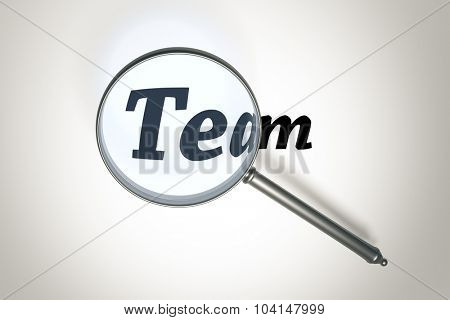An image of a magnifying glass and the word team