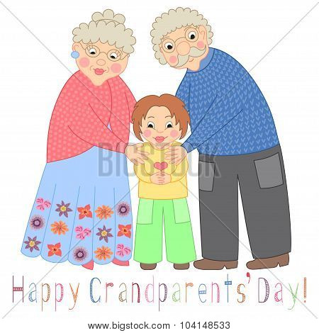 Happy grandparents day card. Poster with cute darling grandmother, grandfather and their grandson