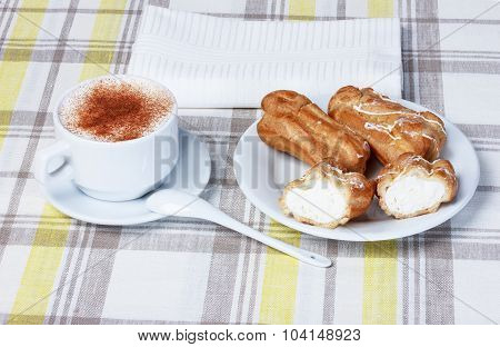 Cappuccino With Eclairs, Tablecloth, Cup
