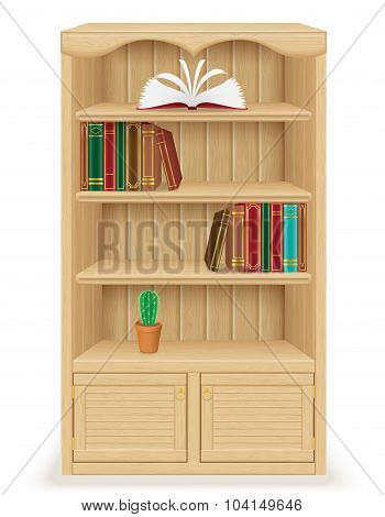 Bookcase Furniture Made Of Wood Vector Illustration