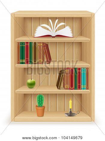 Bookshelf Furniture Made Of Wood Vector Illustration