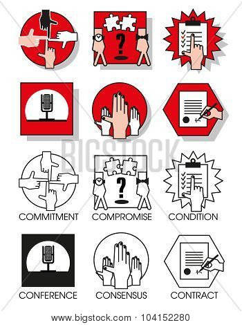 Line Icons Set Of The Agreements And Meetings