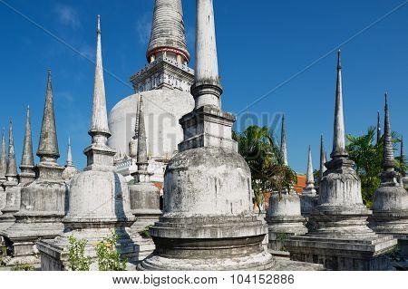 View to the Chedi Phra Baromathat in Nakhon Sri Thammarat, Thailand.