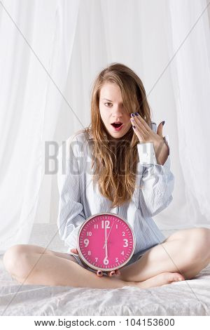 Girl With Big Pink Clock The Morning In Bed