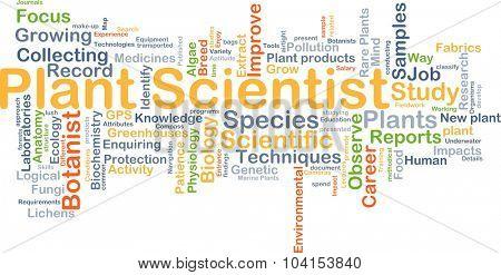 Background concept wordcloud illustration of plant scientist