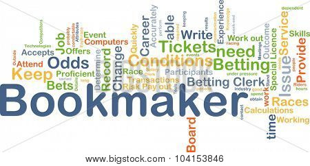Background concept wordcloud illustration of bookmaker