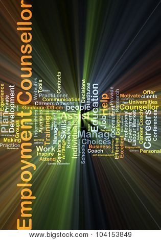Background concept wordcloud illustration of employment consultant glowing light