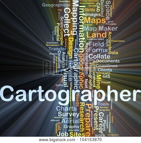 Background concept wordcloud illustration of cartographer glowing light