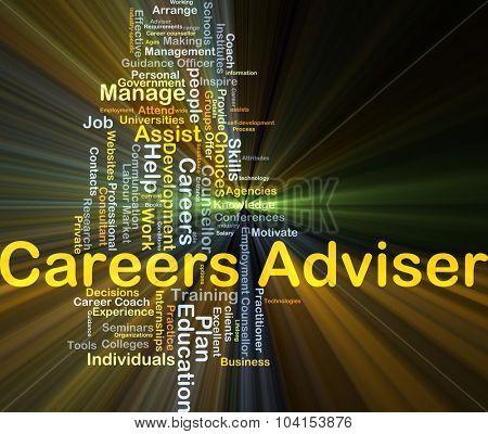 Background concept wordcloud illustration of career adviser glowing light