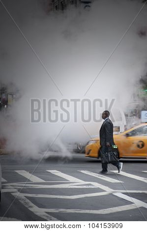 Businessman Crossing Street At Herald Square New York City