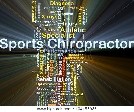 Background concept wordcloud illustration of sports chiropractor glowing light