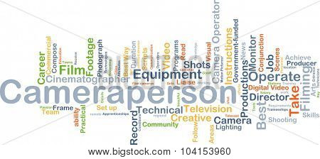 Background concept wordcloud illustration of cameraperson