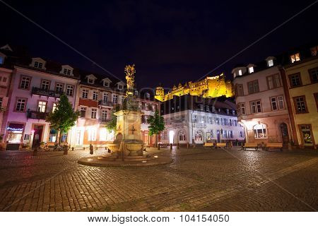 Inner Kornmarkt square during night with lights