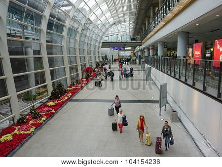 Passengers In The Airport Main Lobby
