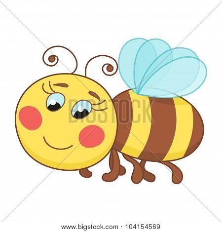 Cute cartoon bee, funny ruddy bee flying