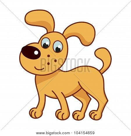 Cartoon smiling golden puppy, cute funny naughty dog