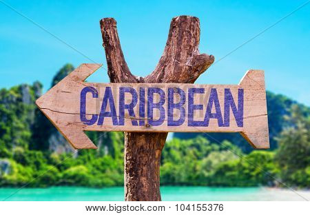 Caribbean arrow with beach background