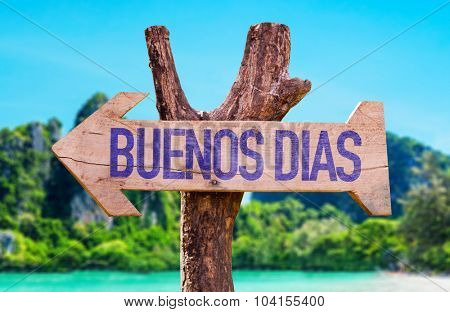 Good Morning (in Spanish) arrow with beach background