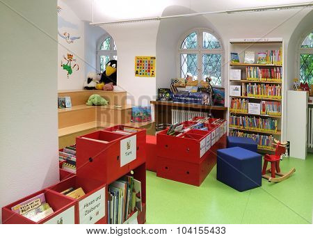 BADEN-BADEN, GERMANY - SEPTEMBER 23: Interior children's library in Baden-Baden.  The City Library Baden-Baden was on 1 April 1901 as a people's library with reading room.