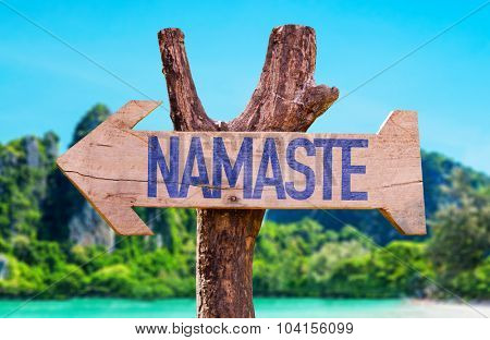 Namaste arrow with beach background
