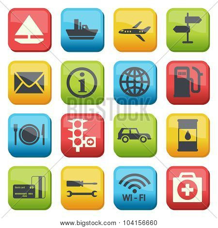 Silhouette Fuel And Transport Colored Icons
